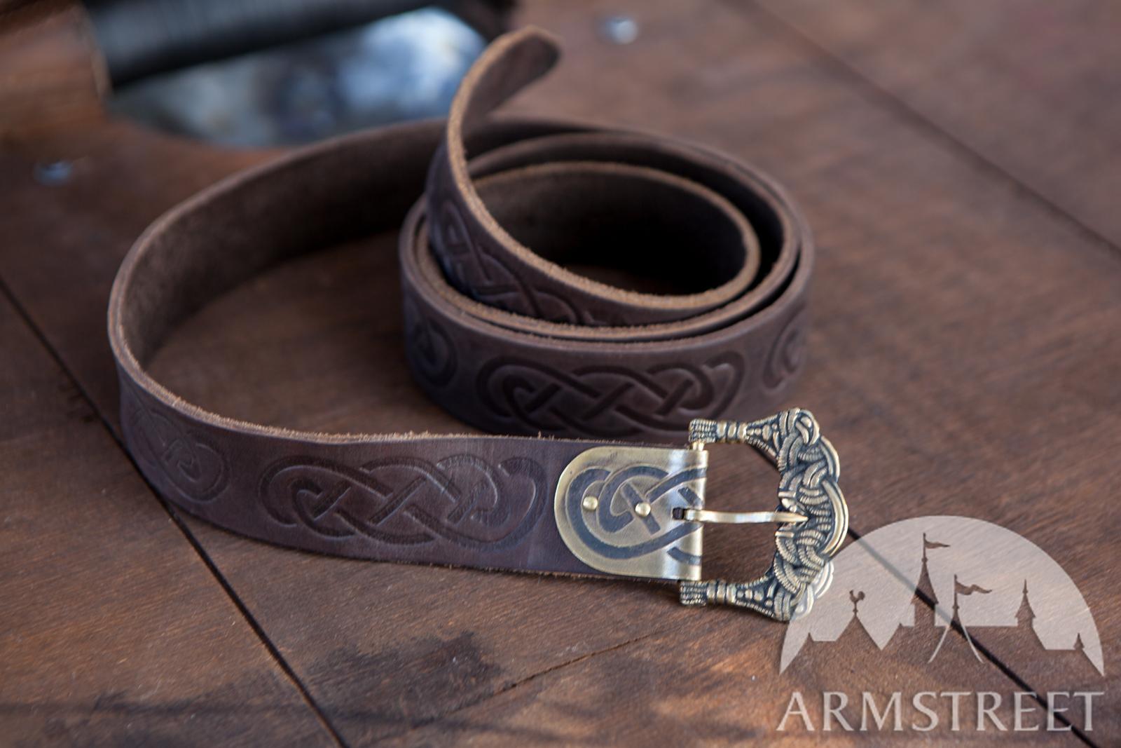 ceinture viking en cuir gaufr vendre disponible en cuir brun cuir noir armstreet. Black Bedroom Furniture Sets. Home Design Ideas