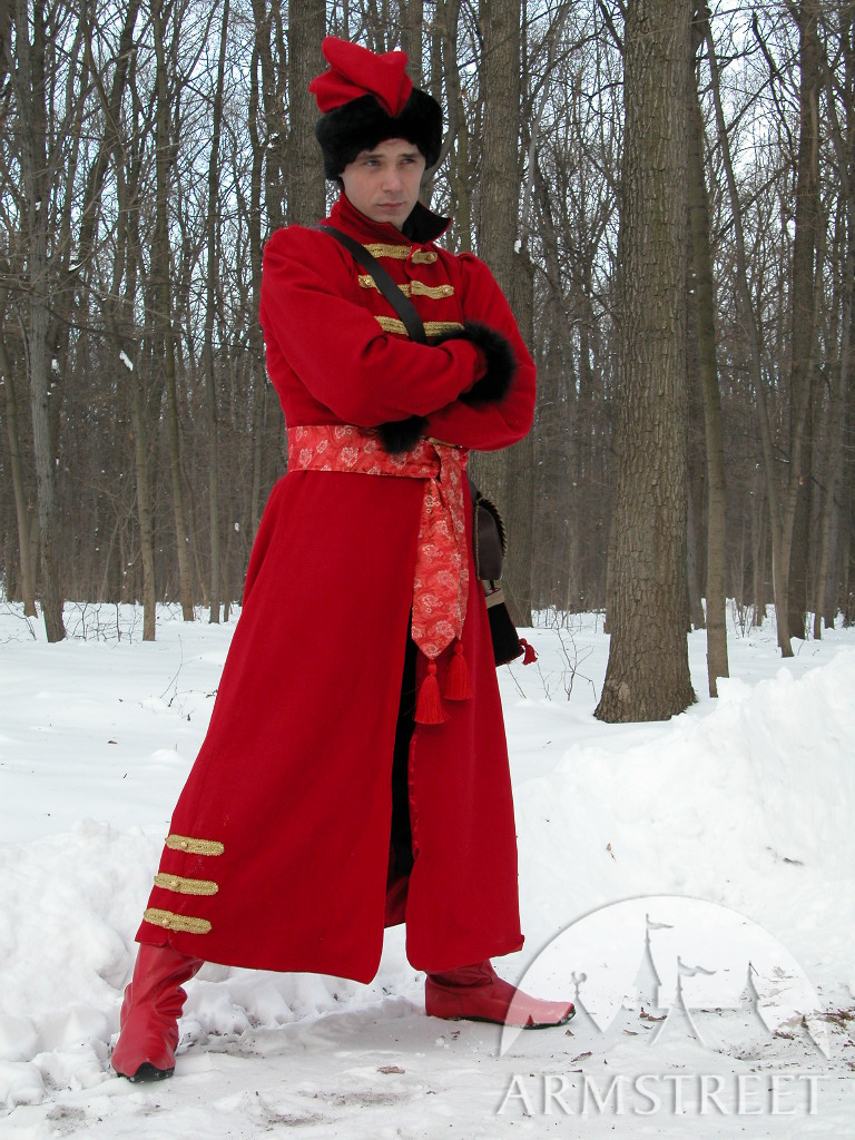 le manteau traditionnel russe strelets disponible en laine rouge laine noire laine. Black Bedroom Furniture Sets. Home Design Ideas