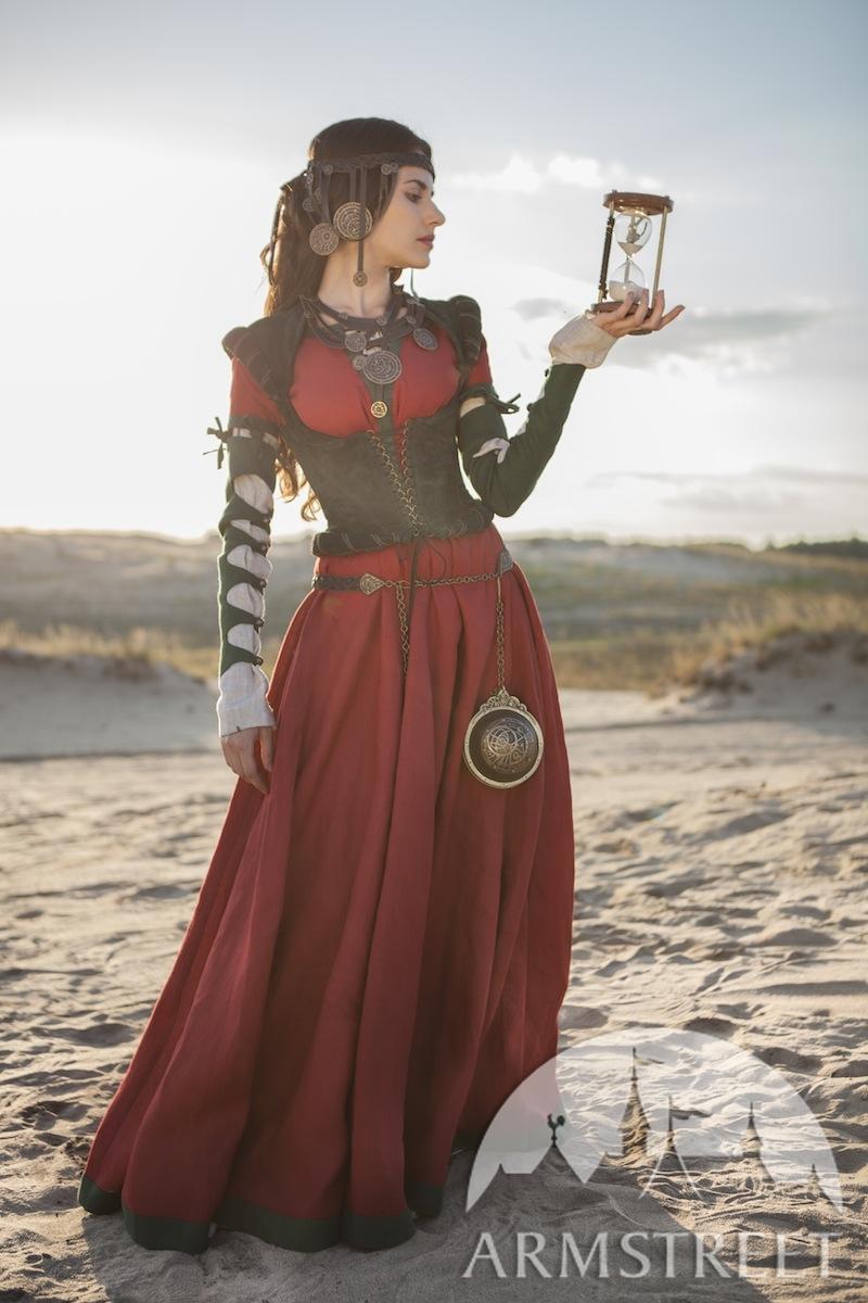 Robe, corset et chemise médiévaux fantastiques Fille de l\u0027Alchimiste à  vendre. Disponible en  lin vert, lin bleu, lin jaune, lin noir, lin blanc,