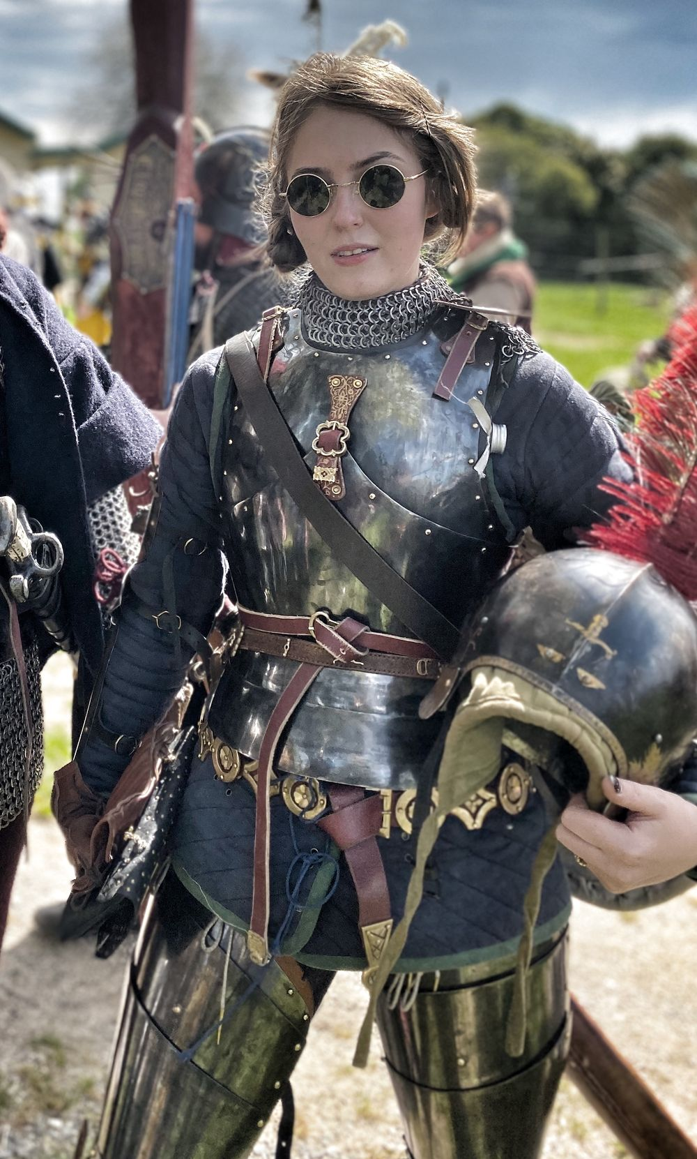 Femme armure en cuir en cuir noir armure costume Halloween LARP personnage costume
